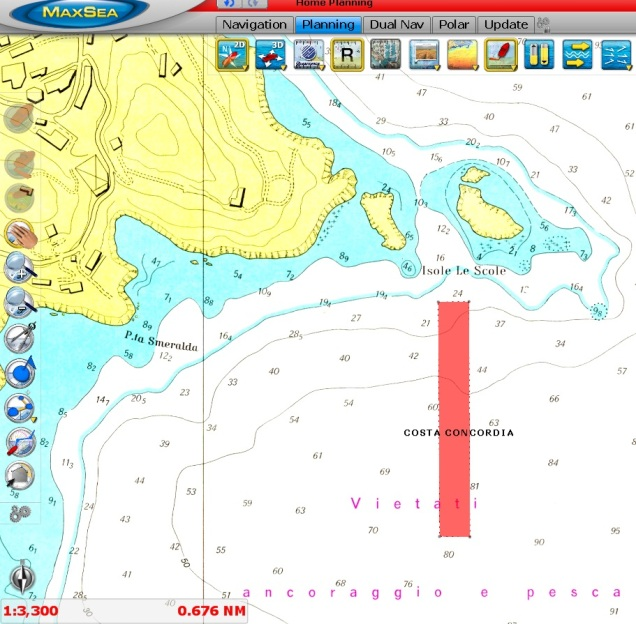 Costa Concordia ship in 2D (C-MAP by Jeppesen chart)