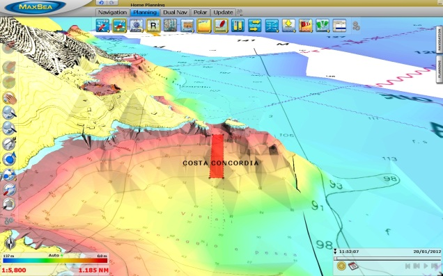 Costa Concordia ship in 3D (C-MAP by Jeppesen)