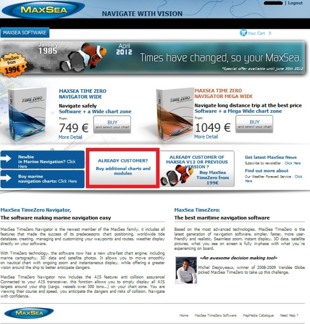 Buy chart updates through MaxSea Webstore