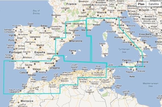 MaxSea TimeZero Raster West Mediterranean Sea Chart