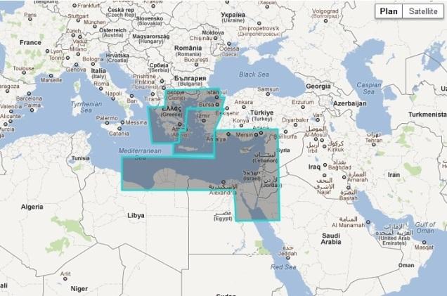 MaxSea TimeZero Raster East Mediterranean Sea Chart