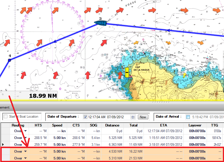 Strong Currents Highlighting Leg Feature - MaxSea TimeZero v1.9.8