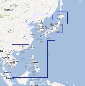 South China Sea, Korea, Japan Navionics electronic chart