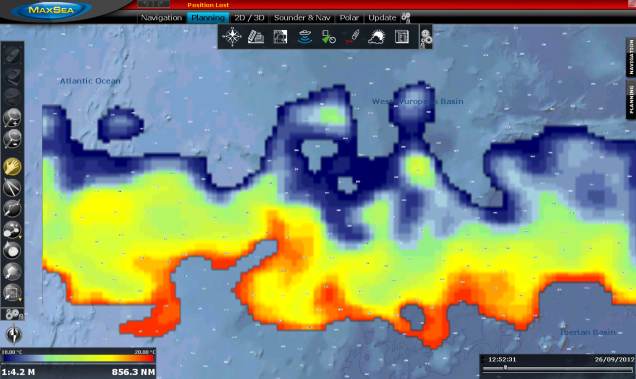 MaxSea TimeZero Plot - Sea surface temperature