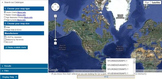 MaxSea chart catalogue browser