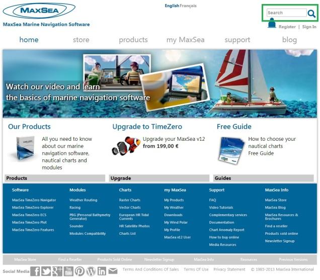 MaxSea search bar