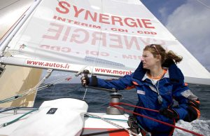 Isabelle Joschke performing sailing manoeuvers