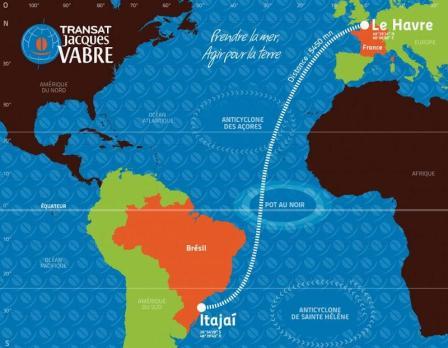 The route for the 2013 Transat Jacques Vabre race
