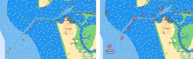 Example of improvement to the NOAA vector charts: now buoys are numbered (right)