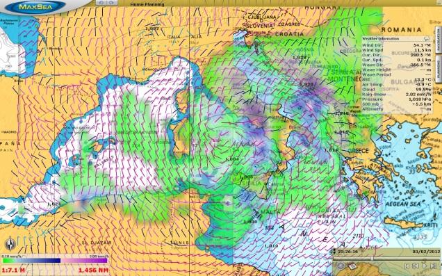 MaxSea TimeZero Navigator weather forecast  service explained during the boat racing training session