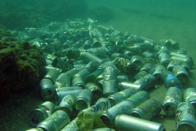 cans in ocean