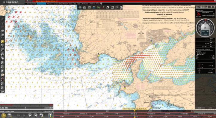 Les courants en arrivant à Brest. « Zone où il faut faire attention car les courants auraient tendance à nous jeter sur les rochers » A.B.