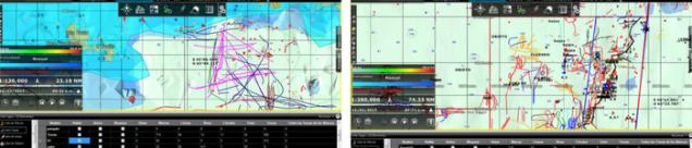 Las rutas de los buques de arrastre mostrados en el interfaz TIMEZERO
